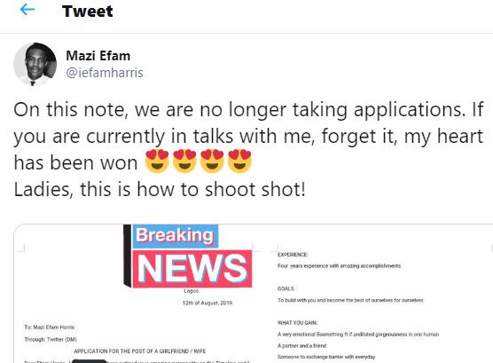 Twitter reacts as lady shoots her shot with interesting relationship CV and cover letter