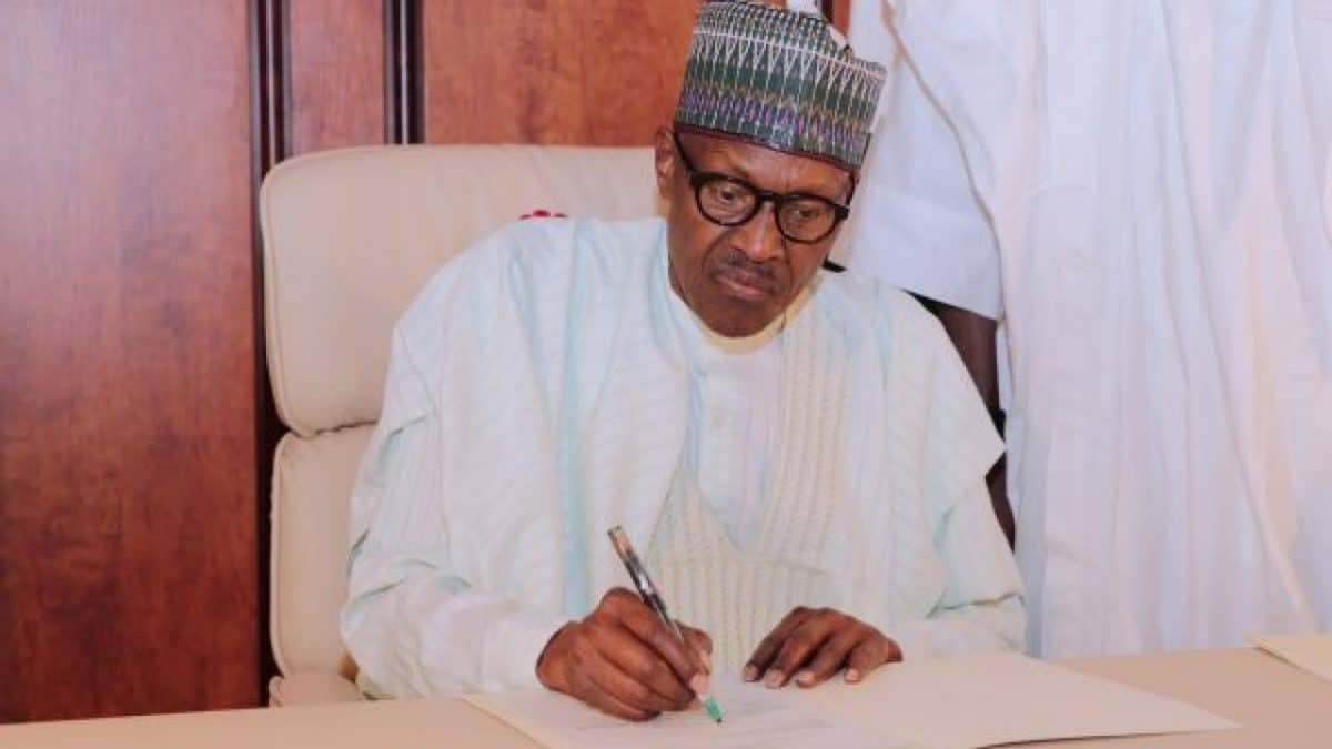 Buhari signs on Open DEFECATION