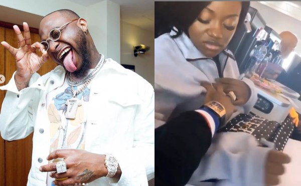 It's painful! - Chioma screams as Davido fondles her boobs | Watch!