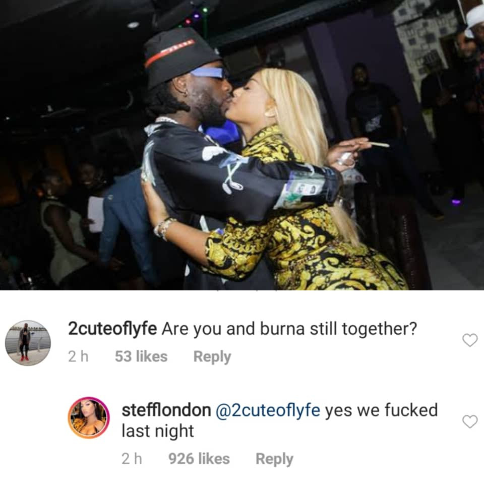 ''We fucked last night'' Stefflondon answers fan's query