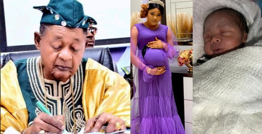 81-year-old Alaafin of Oyo welcomes son with his youngest wife, Damilola