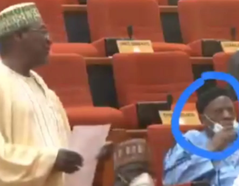 Moment Senator removed face mask to sneeze during plenary