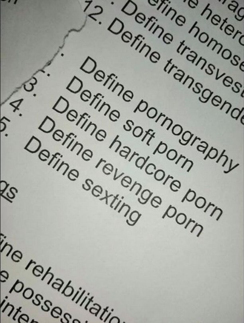 Outrage as 11 years olds are asked to define hardcore pornography, revenge sex