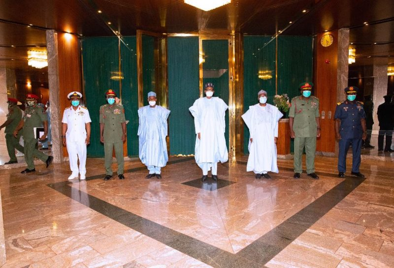 President Buhari meets new service chiefs