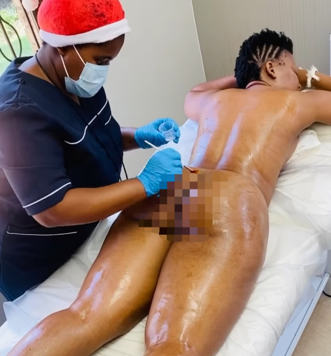 Zodwa Libram leaves nothing to the imagination during spa session