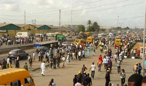 commercial drivers protest in Lagos