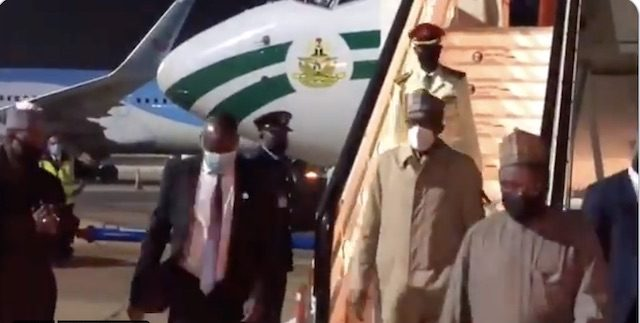 Buhari arrives in London, no official UK reception [VIDEO]