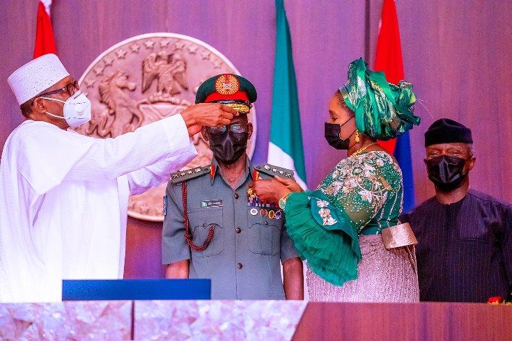Buhari decorates new service chiefs, promises support [PHOTOS]