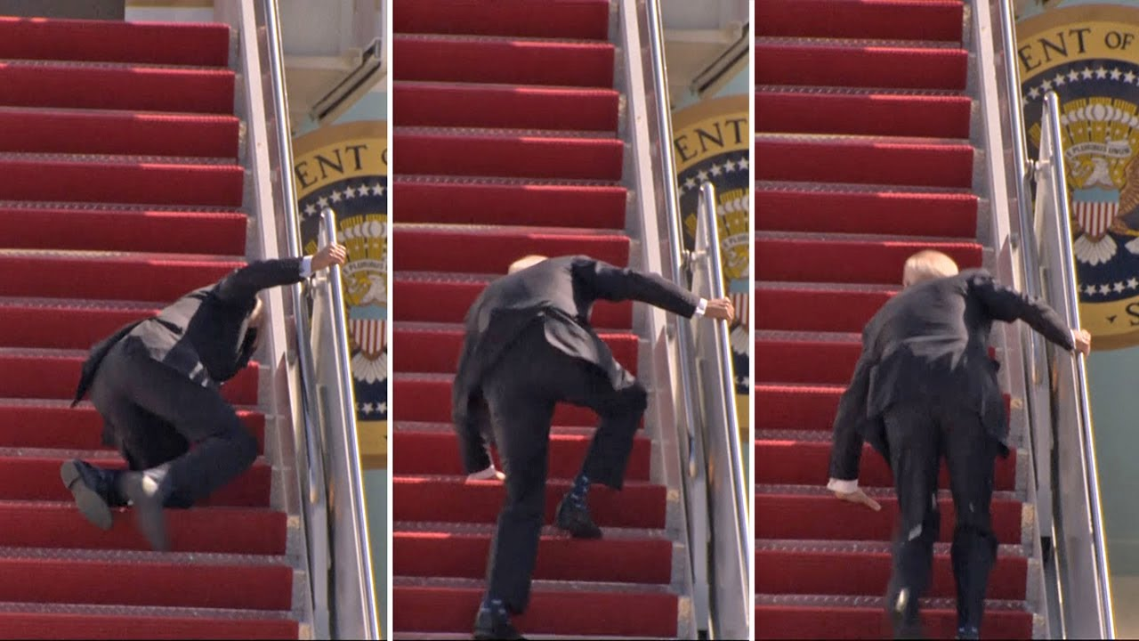 Joe Biden falls off AirForce One stairs, Trump mocks him mercilessly [VIDEO]