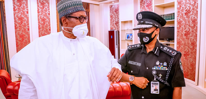 BREAKING: Buhari receives acting IGP Usman Baba