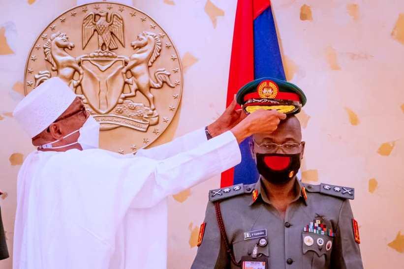 President Buhari decorates COAS, Farouk Yahaya [PHOTOS]